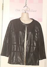ALFRED DUNNER ~ Black Lt. Suede & Snakeskin Look Lined Jacket Sz 10 *EXCELLENT