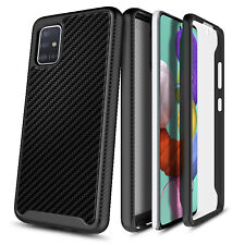 For Samsung Galaxy A71 5G Carbon Fiber Case Cover + Built-In Screen Protector