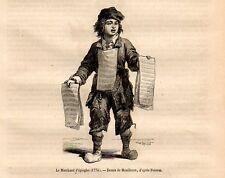 Stampa antica MERCANTE AMBULANTE di SPILLI 1869 Old Print