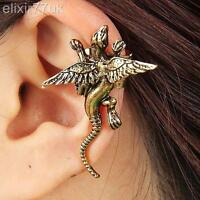 UK NEW SILVER OR VINTAGE BRASS DRAGON PUNK LEFT EAR CUFF CLIP EMO WRAP EARRING