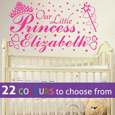 Personalised Our Little Princess Name Wall Sticker Art Baby Girl Nursery Bedroom Pink Large 1000mm X 580mm
