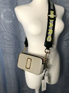 New Marc Jacobs Snapshot Small Camera Bag Crossbody Beige multi color