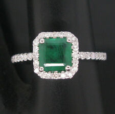 Natural Colombian Emerald Diamond Wedding Ring Solid 14karat White Gold Jewelry