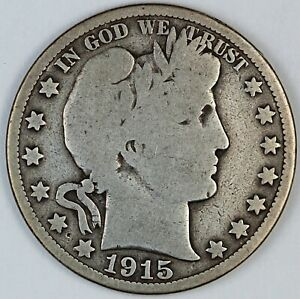 1915 United States Barber Half-Dollar 50c - Damaged