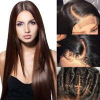 Dark Brown Lace Front Wig Real Human Hair Natural Straight Body Wave Full Wigs V