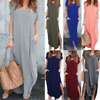 Women Dress Short sleeve casual Long Split Evening Party Pocket split Dresses