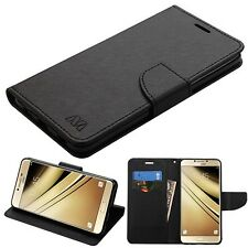 For Samsung GALAXY C7 Pro Leather Flip Wallet Protective Case Cover Pouch Black