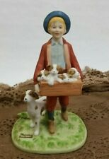"""Norman Rockwell Figurine """"Puppy Love"""" 1984 Porcelain Bisque Mint"""