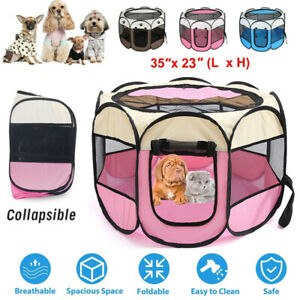 Fabric Pet Play Pen Puppy Cat Dog Rabbit Guinea Pig Run Fence Cage Tent Foldable