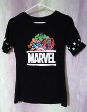 Women's T-shirt by Marvel Sz. Medium(7-9) Marvel logo Black