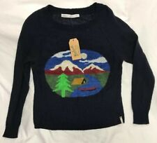 NWT Woolrich Motif Mohair Blend Sweater Mountain Lake Camping Canoe Womens Small