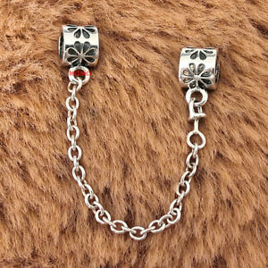 Authentic 925 Sterling Silver Floral Safety Chain Charm Fit Moments Bracelets