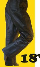 Classic 5-pocket cut BLACK leather jean pant motorcycle biker straight leg NEW
