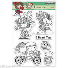 New Penny Black I HEART YOU Clear Stamps Set Hearts Love Kids Valentines Friends