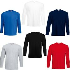 3 Or 5 Pack Fruit of the Loom Men's Long Sleeve 100% Cotton Value T - Shirt New