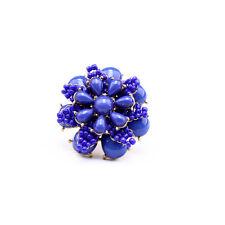 Bague Grosse Fleur Mini Perle Fait Main Artisan Bleu Marine  Original Mariage Z2