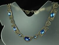 "ART DECO FILIGREE Necklace 1930s BLUE SAPPHIRE Paste & Millegrain Work 16"" FAB!"