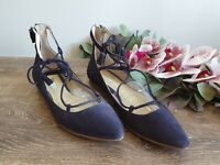 Boden Womens Size 39 Navy Suede Leather Lace Up Pointed Toe Flats EUC