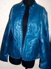 Jacket Teal Faux Leather Baccini Blazer Misses size Large New