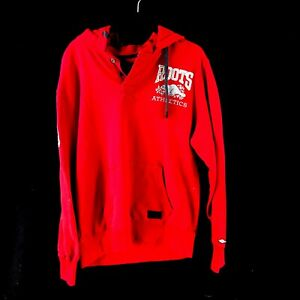 Men's Red Roots 1/4 Button Cotton Pullover Hoodie Long Sleev Sweater Size Medium