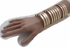 Women Jewelry Gold Long Cuff Bracelet Metal Stripes Cut Out Urban Wonder Sexy