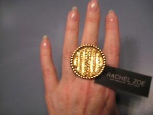 "REDUCED! DESIGNER RACHEL ZOE ""LAURA"" STATEMENT 14K GOLD-PLATED RING  $125 NEW"