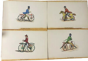 ANTIQUE Science PRINT HAND COLORED ENGRAVING Bicycle 4pc
