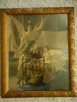 Antique Gilded Acorn Frame Angel watching children  girls praying Victorian Styl
