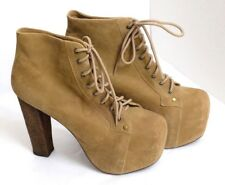 VGUC Jeffrey Campbell Women's Size 8M Light Brown Suede Lace-Up Ankle Boots