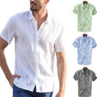US Mens Short Sleeve Shirt Summer Cool Loose Casual V-Neck Shirts Tops M-3XL