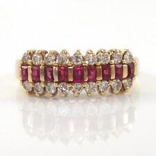 14K Yellow Gold Natural Ruby Diamond Band Ring Size 5