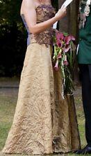Ballkleid Brautkleid Abiball Kleid Abiballkleid Abendkleid gold bronze S 36 38