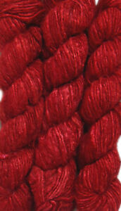 1 Quality Red Color Recycled Soft Silk Sari Knitting Crochet Woven Yarn 100Grams