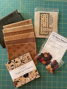 Kansas Troubles Quilt Kit With Fabrics, Buttons, Pattern, Template