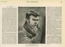 1881-antica stampa ritratto John Crome paesaggio cavalletto pittore (19A)