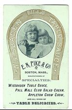 Old Trade Card Wiesbaden Table Syrup Delicacies Chow Chow EN Pike Boston MA