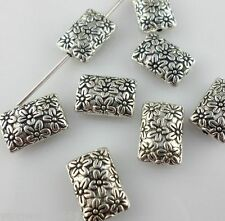 24pcs Tibetan silver flat rectangle Flower Loose Spacer Beads 8*11.5mm