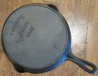 Vintage FAVORITE PIQUA WARE # 8 Cast Iron SKILLET With HEAT RING