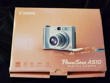 Canon Powershot A510 Digital Camera Silver 3.2Mp w Box/Manuals/Power Cord & Disk