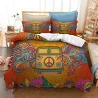 Doona/Duvet/Quilt Cover Set Single/Double/Queen/King Bed Linen Peace Floral Bus
