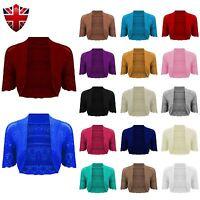 New Ladies Bolero Crochet Cap Sleeves Knitted Short Cardigan Shrug Crop TOP 8-22