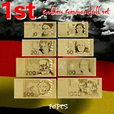 WR Gold Deutsche Mark Banknote Set 5,10,20,50,100,200,500,1000 DM Geldscheine