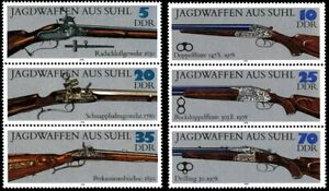 EBS East Germany DDR 1978 Hunting Weapons - Jagdwaffen Michel 2376-2381ZD MNH**