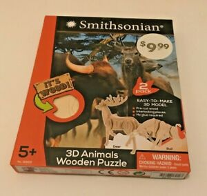 Smithsonian: 2 Pack Easy-To-Make 3D Animals Wooden Model Puzzle - Deer & Bull