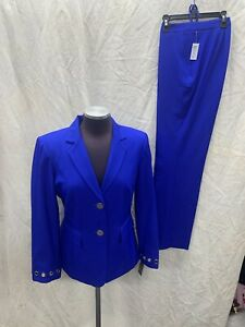"""JOHN MEYER PANT SUIT /RETAIL$240/SIZE 6/NEW WITH TAG/LINED/INSEAM 31""""/ROYAL"""
