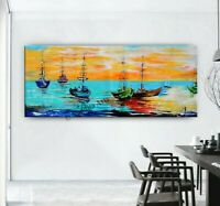 Sail Boat Sunrise Abstract Original Painting, Coastal Painting Seascape Wall Art