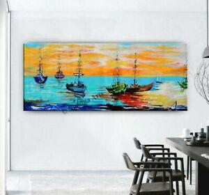 Sail Boat Sunrise Abstract Original Painting, Coastal Painting Seascape Wall Art
