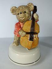 Teddy Bear Playing Cello Turning Music Box  Otagiri Japan Plays The Entertainer