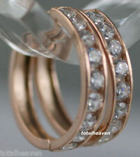 "16.5mm (0.65"") Solid 14K PINK ROSE Gold Huggies Hoop Sparkling CZ Earrings 1.66g"