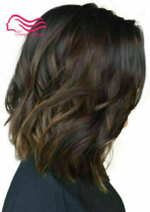 100% Human Hair New Fashion Glamour Short Dark Brown Wavy Women's Hot Full Wigs